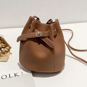 Crossbody bucket purse small tan Faux Leather